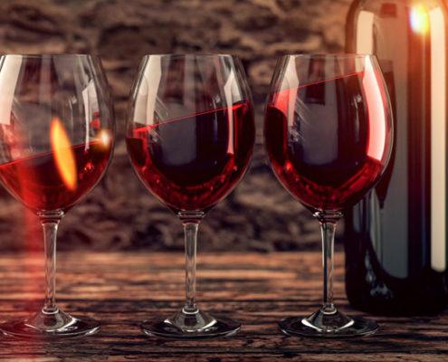 Wein in Gläsern für Weinprobe Webseite Schloss Möhler
